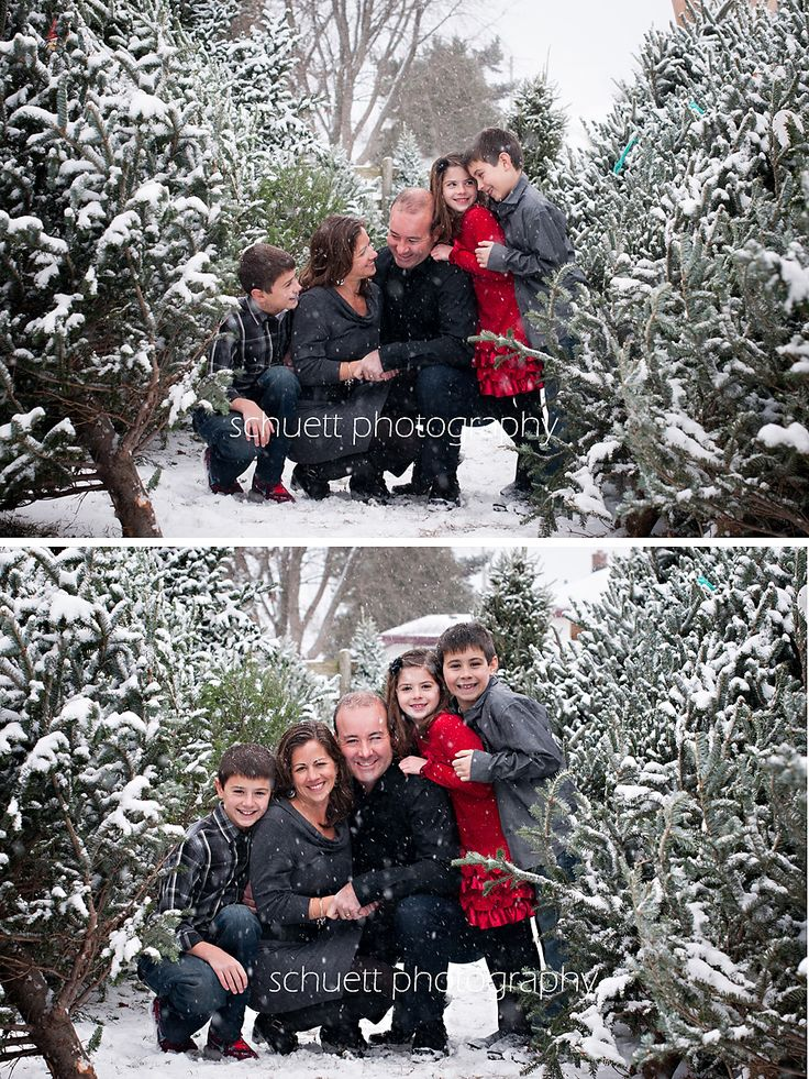 Winter Snow Family Photoshoot Grey Black And A Bit Of Red Schuett Photography Milwaukee WI