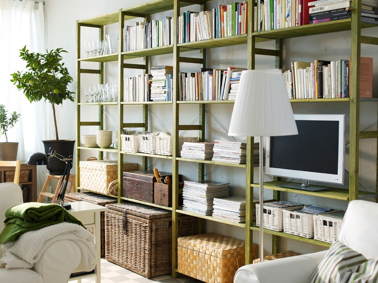 Pinning For Picture   Ikea Ivar Shelving. Love The Large Wicker Basket  Tucked Underneath, Perfect For Storing Blankets In The Living Room.