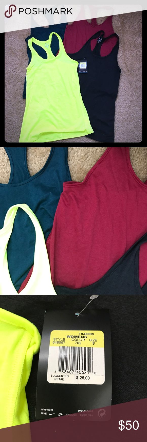 Four Nike Balance Drifit workout tank tops Neon yellow is new with tags. Others have been washed and worn a few times, but I don't see any signs of damage such as snags/tears. Colors are burgandy, dark teal, black, and neon yellow/green. All size small. Nike Tops Tank Tops