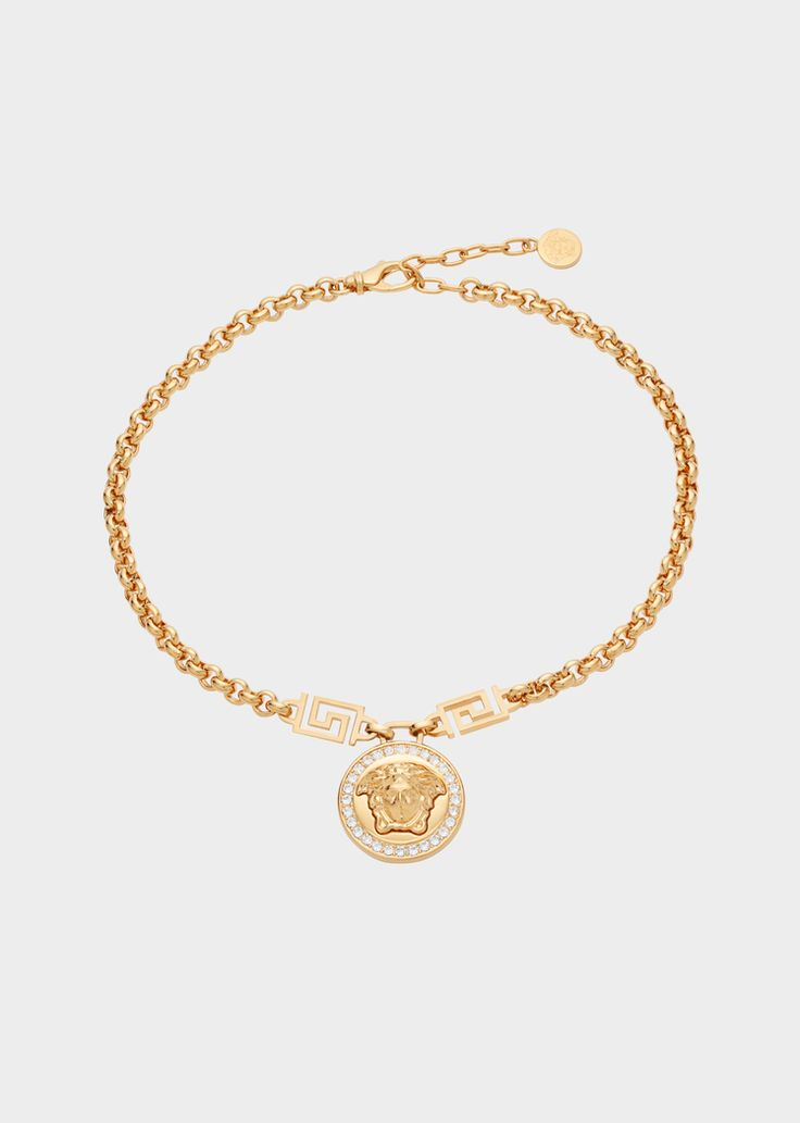 Versace Icon Medusa Necklace for Women | US Online Store. Icon Medusa Necklace from Versace Women's Collection. Channel the iconic Medusa medallion and wear it on a gold-tone necklace embellished with some crystals.
