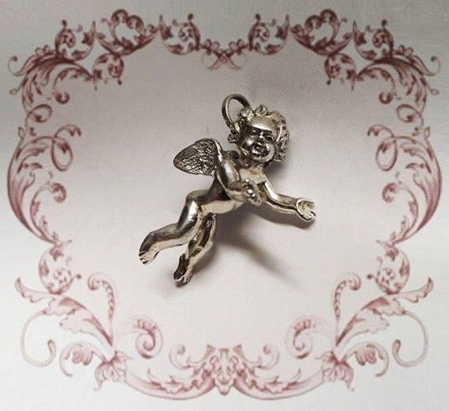 ANGEL Sterling Silver Pendant, Sculptural Pendant, Baroque Style, Wing