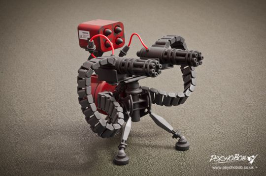 The team Fortress 2 Sentry gun. Upgradeable from level 1 to 3 and for sale over on Shapeways.com