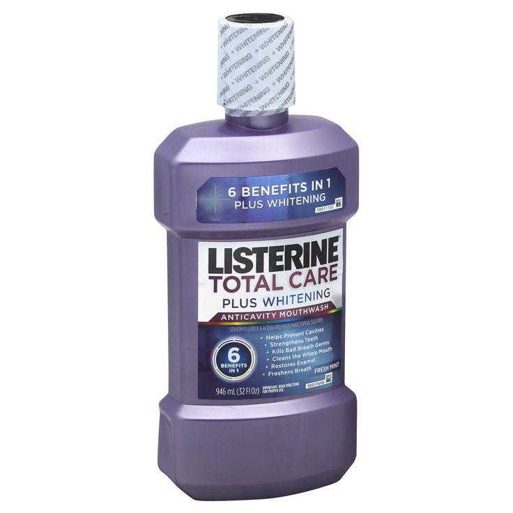 Listerine Total Care Plus Whitening Mouthwash, Anticavity, Fresh Mint, 32 fl oz (946 ml)