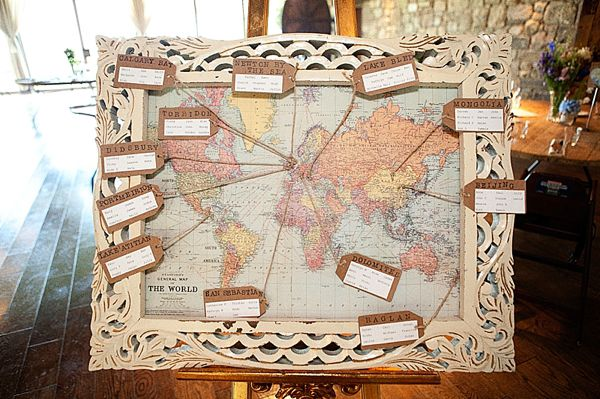 World map style table plan.  From 'A Lusan Mandongus Gown For a Travel Inspired Wedding By The Sea'.  Photography by http://thetwinsweddings.co.uk/