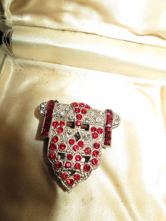 Lovely vintage Deco Czech silvertone clear and red rhinestone