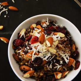 Farro and barley come together with coconut milk, almonds and cacao nibs for a delicious and healthy start to your day.