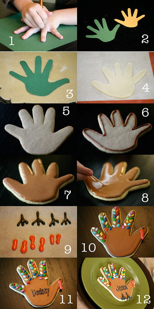 Hand print turkey cookies! SO cute! From Somewhat Simple on #babycenterblog