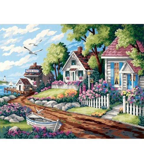 Paint By Number 20''X16''-Cottages By The Sea