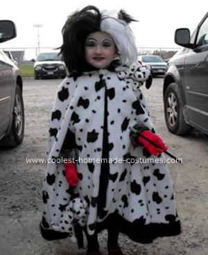 Homemade Cruella DeVille Halloween Costume: My daughter loves 101 Dalmatians, so this year she asked if she could have a Homemade Cruella DeVille Halloween Costume. I went to the store and bought