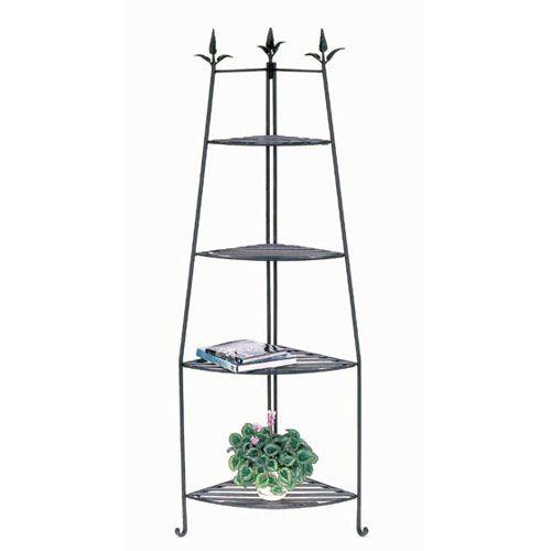 achla designs wrought iron corner unit etagere shelves. Black Bedroom Furniture Sets. Home Design Ideas