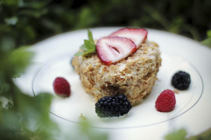 A beautiful, gourmet desert featuring summer berries grown on our property, at the Lodge. See what YOU have to look forward to our Husbands & Wives retreats at  scottriverlodge.com #gourmet #berries #marriage #vacation
