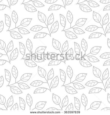 Floral seamless pattern with branches and leaves.Thin line gray tea background, outline branches on white. Background with foliage, petals for wrapping paper, textile, card, web. Vector illustration.