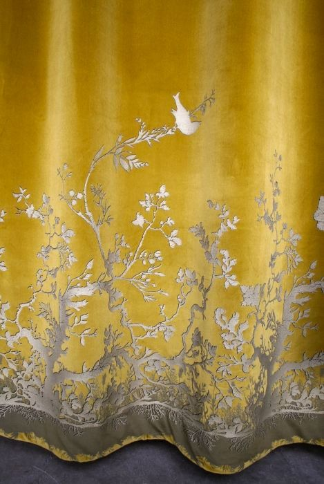 Gorgeous velvet with bird detail. Re-pinned by www.gilroyinteriors.com Breathing life & colour into your home!
