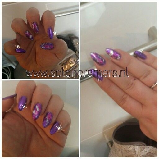 Chrome purple nails nail art with silver foil almond mountain peak nails - 336 Best Nail Art Images On Pinterest Nail Designs, Hair And