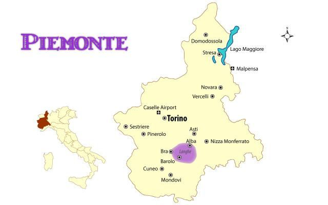See a map of Northern Italy's Piemonte region showing the cities and places of interest to tourists with travel information and guide.