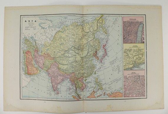 Antique Asia Map Vintage Middle East Map India Turkey Afghanistan Pakistan China Old 1891 Travel Map Unique Gift Under 20 Gift for Home by OldMapsandPrints on Etsy