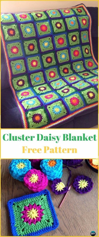 Crochet Cluster Daisy Blanket Free Pattern - Crochet Daisy Flower Blanket Free Patterns