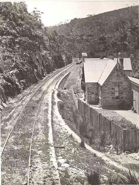 Lithgow Zig Zag - Bottom Point showing platform and pointsman residence c.a. 1886. State Rail Authority Archives.