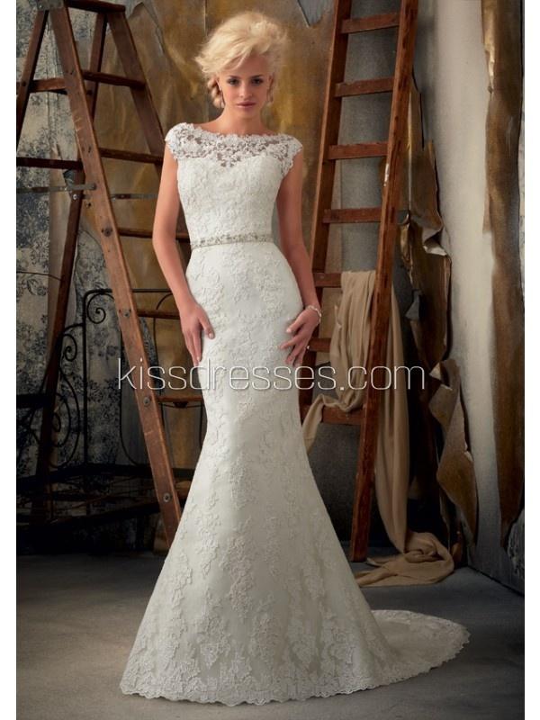 Fantastic Trumpet Mermaid Off The Shoulder Court Train Lace Wedding Dress