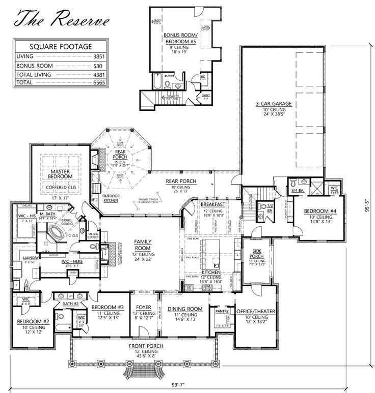 Madden Home Design   The Reserve, Louisiana Style House Plan, 5 Bedrooms,  4.5 Baths, Bonus Room, Office/theater, 3851+530u003d4381 Square Feet Living Au2026