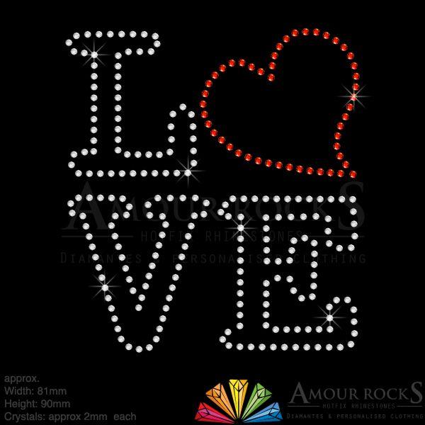 Valentines Love Rhinestone Iron on Transfer