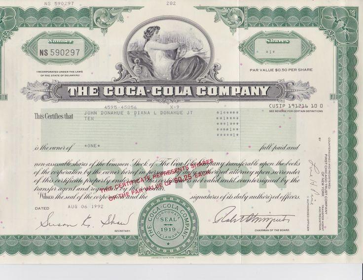 Coca-Cola Stock Certificate 1 share par value 0.50 per share 1992