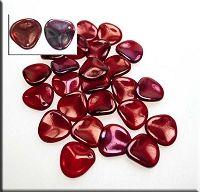 Czech Rose Petal Beads, Ruby Vega, 14mm