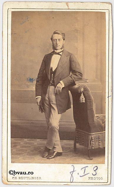 """Roiu, membru de curte, Paris, 1868. Imagine din colecțiile Bibliotecii """"V.A. Urechia"""" Galați."""