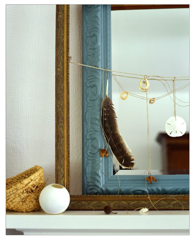 frame infront of mirror: Mirror, Beaches House, Feathers Shells Etc, Empty Frames, Papa Stour, Catch Dreams, Feathers Garlands, Rosie Brown, Pictures Frames