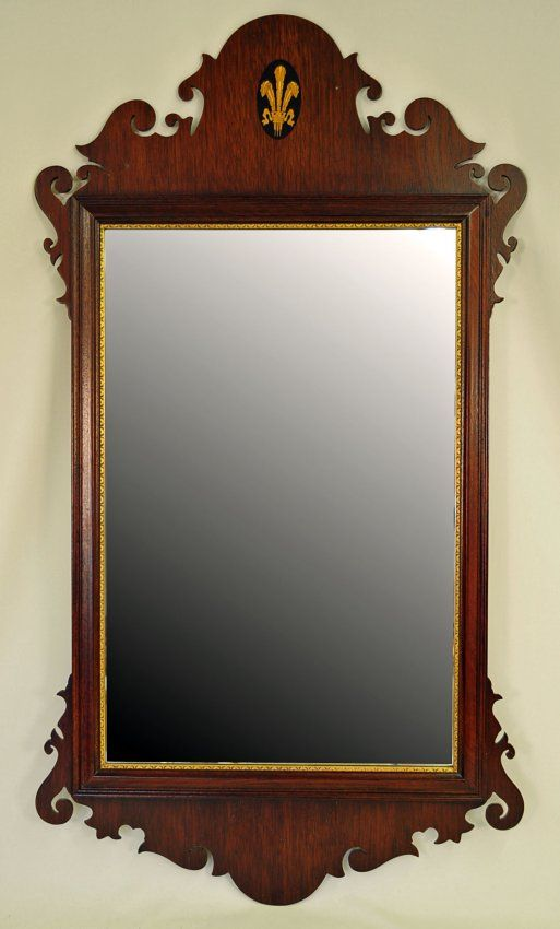 Chippendale Mirror, Mahogany with Feather Inlay : Lot 217