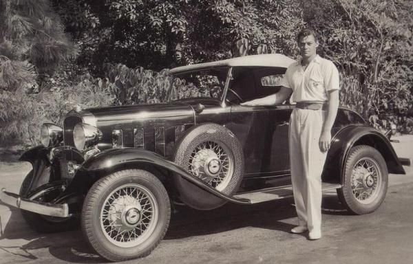 Johnny Weissmuller with his 1932 Chevrolet. Jackie, this is for you, because you mentioned watching Tarzan!