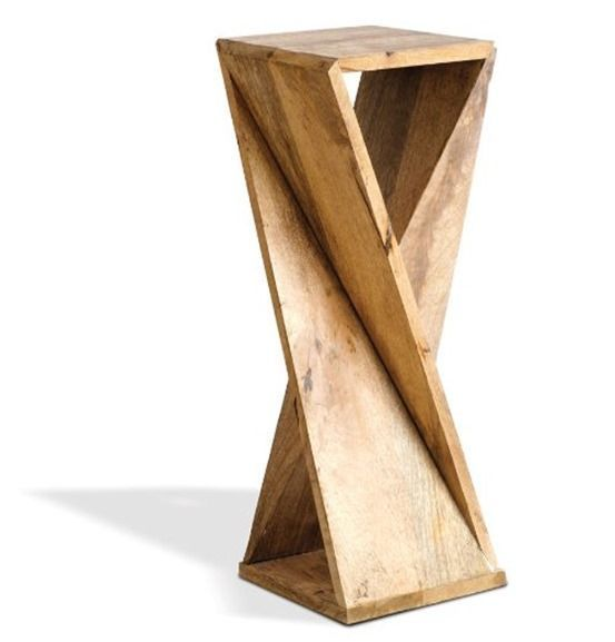 One Board Twisted Side Table for