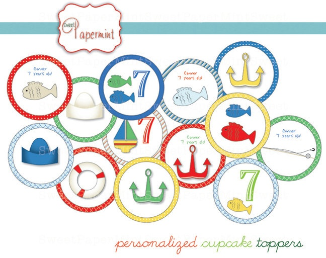 Boy Nautical Ocean Fishing Boat Cupcake Party Topper - Customizable - Printable digital circles. $10.00, via Etsy.
