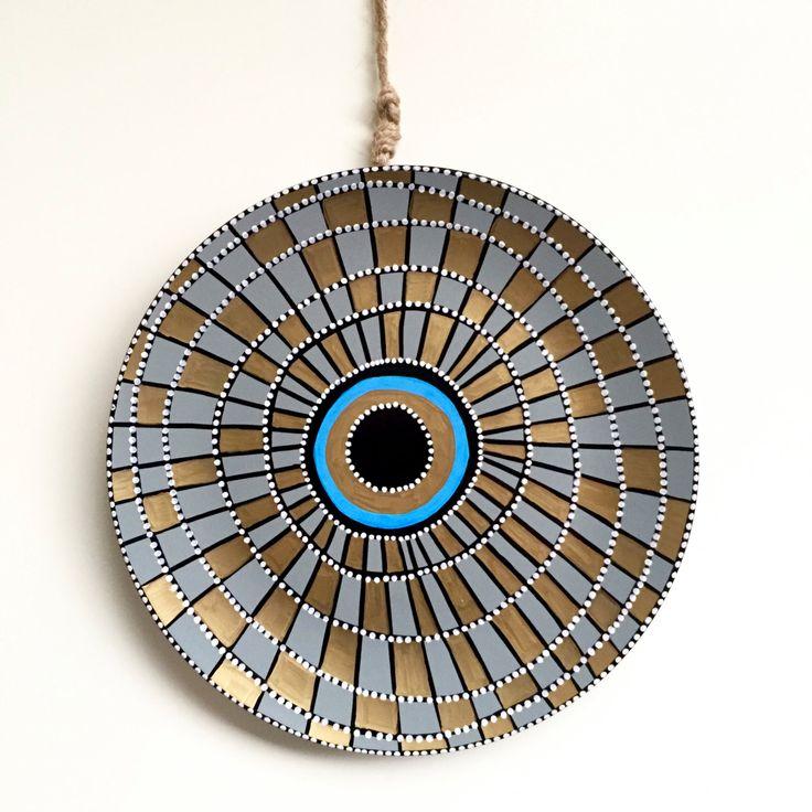 Golden and Blue Decor - Spiral Wall Art - Porcelain Evil Eye - Wall Hanging - Golden Evil Eye Decor - Egypt Decor - Egypt Wall Decor by biancafreitas on Etsy
