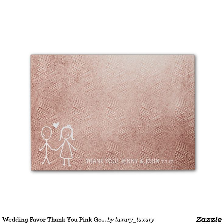 Wedding Favor Thank You Pink Gold Pastel Post-it® Notes