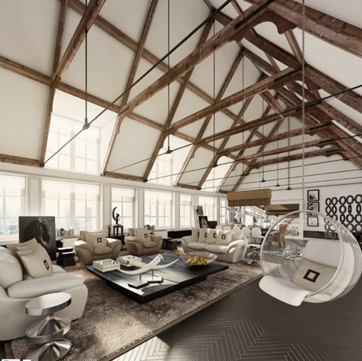 really love the exposed beams and struts however spaces like these are constantly let down by those hideous eero aarnio hanging bubble chairs