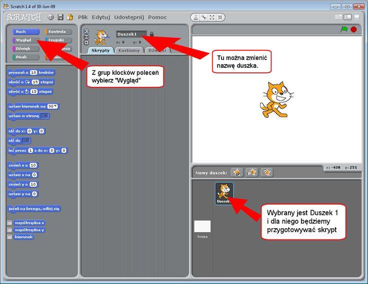W Scratch możesz łatwo utworzyć swoje animacje, gry, programy. A potem obublikować je na portalu scratch.mit.edu