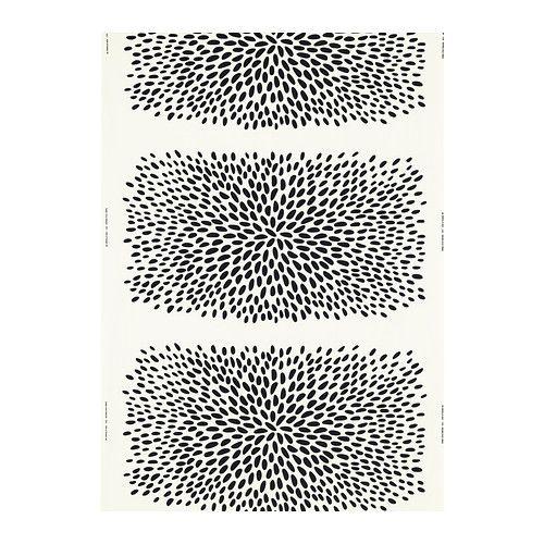 TRÅDKLÖVER Tissu au mètre, blanc, noir