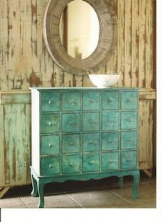 Serve drinks or set up party favors on top of a fabulous shabby chic piece of furniture like this turquoise dresser.