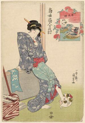 Utagawa Kuniyoshi: Noon (Hi kokonotsu no toki): Woman Playing with Cat, Fishmonger and Dog, from the series Sundial of Modern Tradesmen (Tôsei akindo hidokei) - Museum of Fine Arts