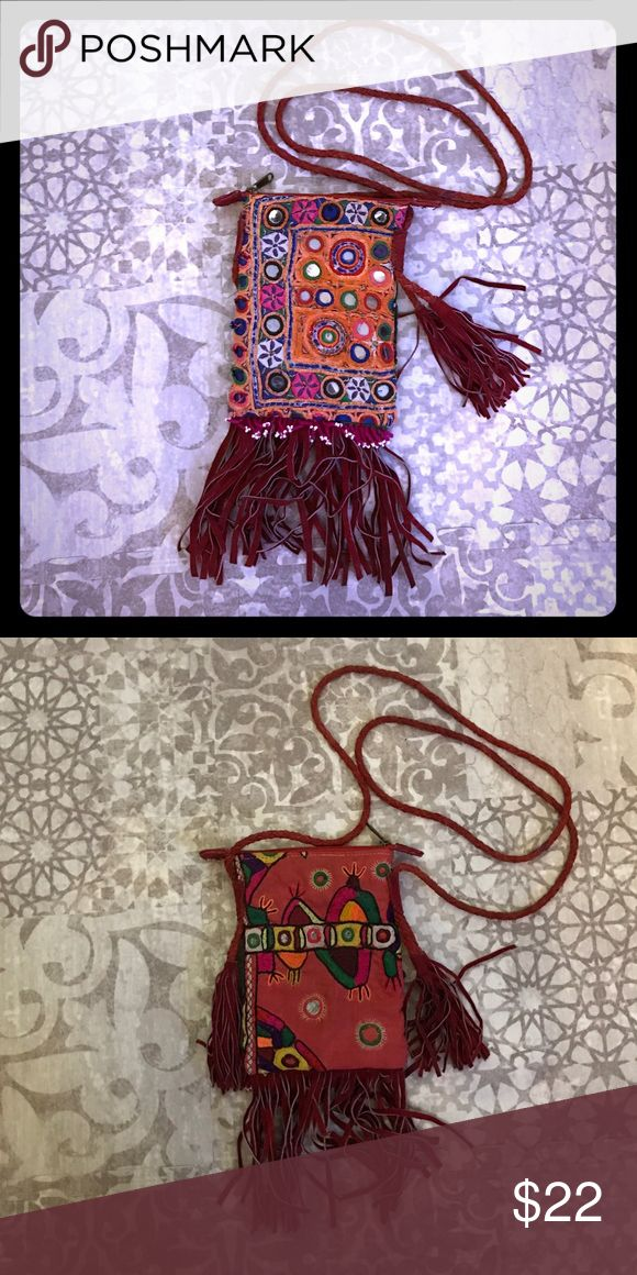 Bohemian tribal hippie festival bag purse fringe Cute purse with mirror and leather fringe motif.  Great for festivals!! Just perfect for a phone makeup and small wallet Bags Mini Bags