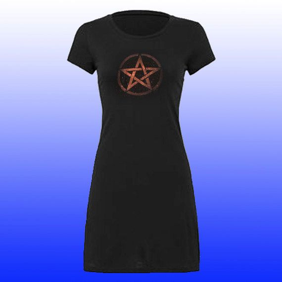 Funky T-shirt Dress Pentacle pentagram symbol by NytemothDesigns