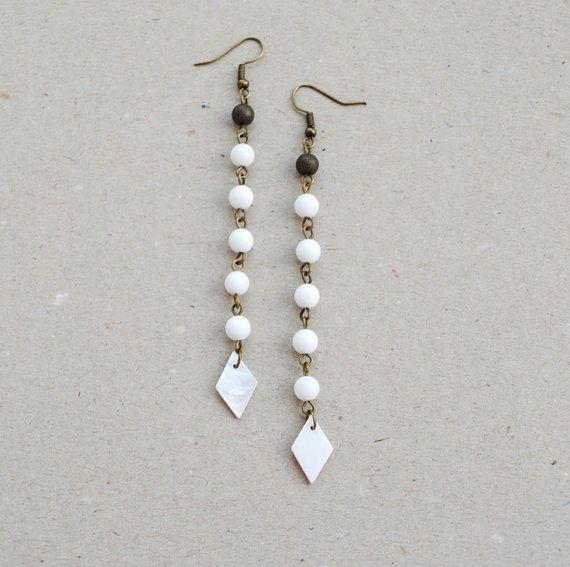 White earrings long earrings beaded earrings by elfinadesign