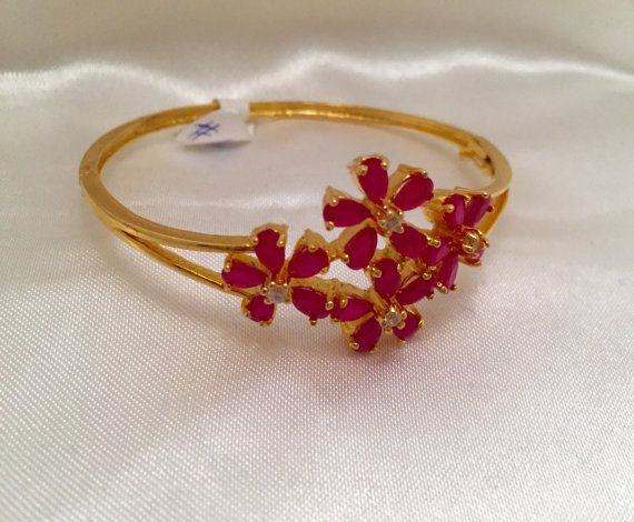 Ruby Bangle Bracelet Ruby Kada Indian Jewelry by Alankaar on Etsy