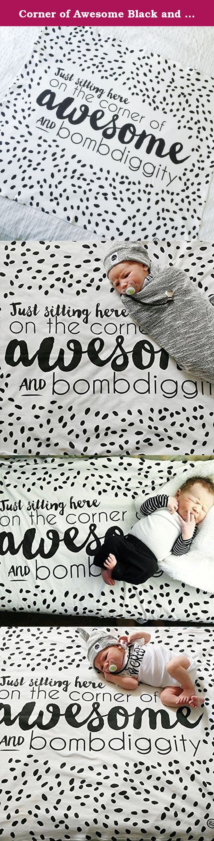 Corner of Awesome Black and White Baby Blanket and Swaddle. Blanket measures 35″ x 38″ and are the perfect size for swaddling, strollers, car seats and snuggling. As with all of our baby blankets our Faith,Trust, & Pixie Dust design is made of ultra-soft, breathable, lightweight yet warm, 100% organic cotton jersey. Our blankets are ideal for both babies and toddlers as they easily transition from a swaddle to an everyday blanket that can be used in the car seat, at the park, or cuddling…