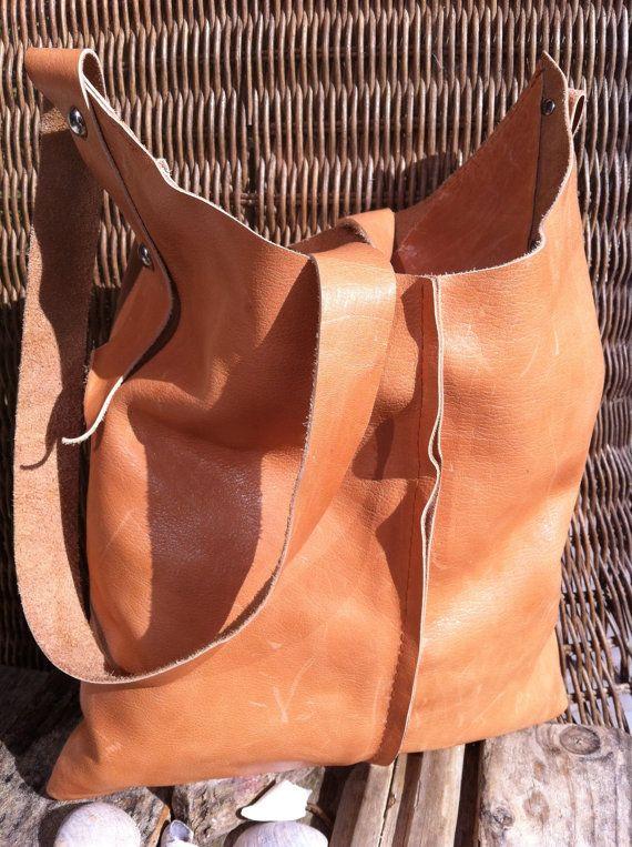 Handmade Basic Bag Leather - Handgemaakte Tas Leer Cognac