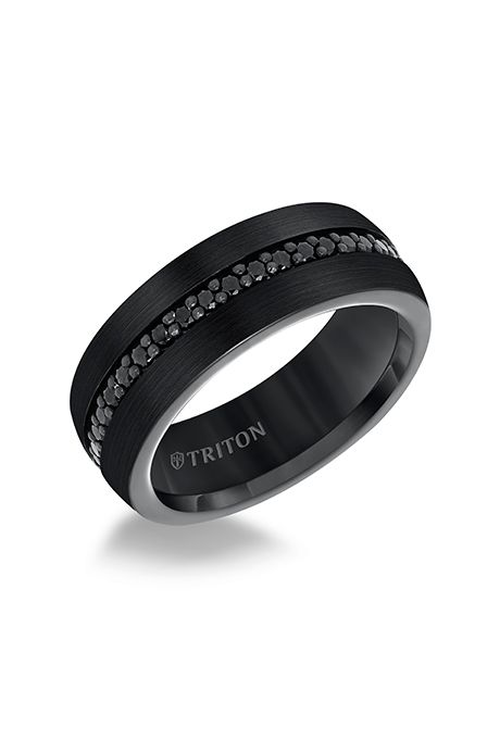 Brides.com: . Style 22-5733BC100, black tungsten carbide ring with black sapphire band, $605, Triton