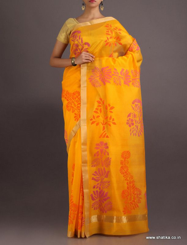 Puja Bright Sunny Blossom #ChanderiBlockPrintedSaree