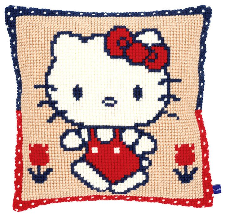 Hello Kitty Walking Cushion Front Chunky Cross Stitch Kit   sewandso