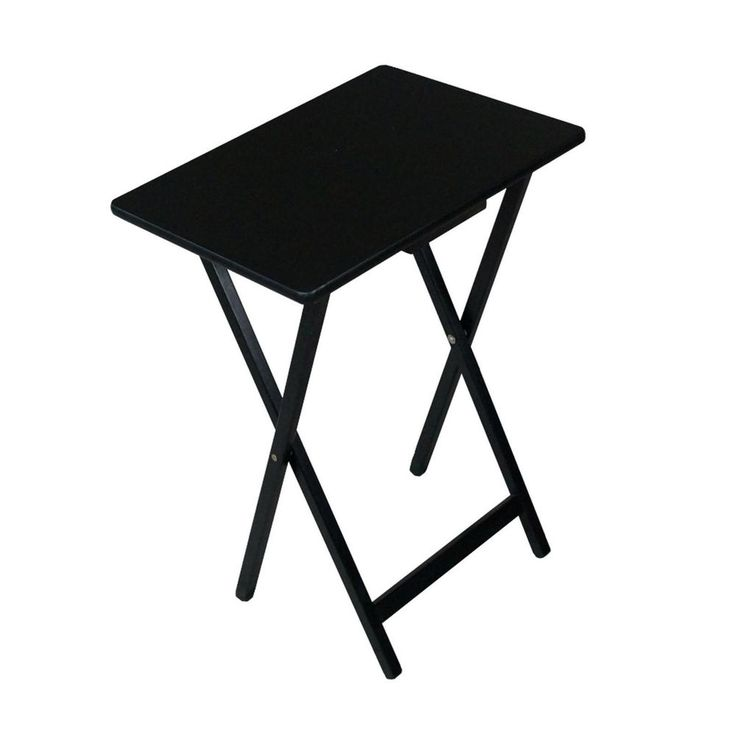 Folding Wooden TV Tray Table Side Lightweight Table Black